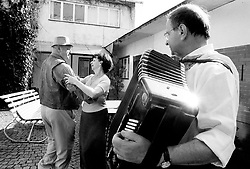 CZECH REPUBLIC MORAVIA BANOV 1APR02 - Folk musicians Jiri and Jan Chovanec perform during traditional Easter Monday celebrations in their village....jre/Photo by Jiri Rezac..© Jiri Rezac 2002..Tel/Fax: +44 (0) 20 8968 9635.Mobile: +44 (0) 7801 337 683..Email: jiri@jirirezac.com.Web: www.jirirezac.com..All pictures © Jiri Rezac 2002. All rights reserved.