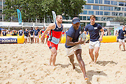 UNITED KINGDOM, London: 31 July 2015 A game of Beach Rugby gets underway in the heart of London this afternoon at Finsbury Square. The five-a-side rugby tournament imported 240 tonnes of sand for the event, which sees more than 300 rugby players come together and raise money for Help for Heroes. Rick Findler / Story Picture Agency.