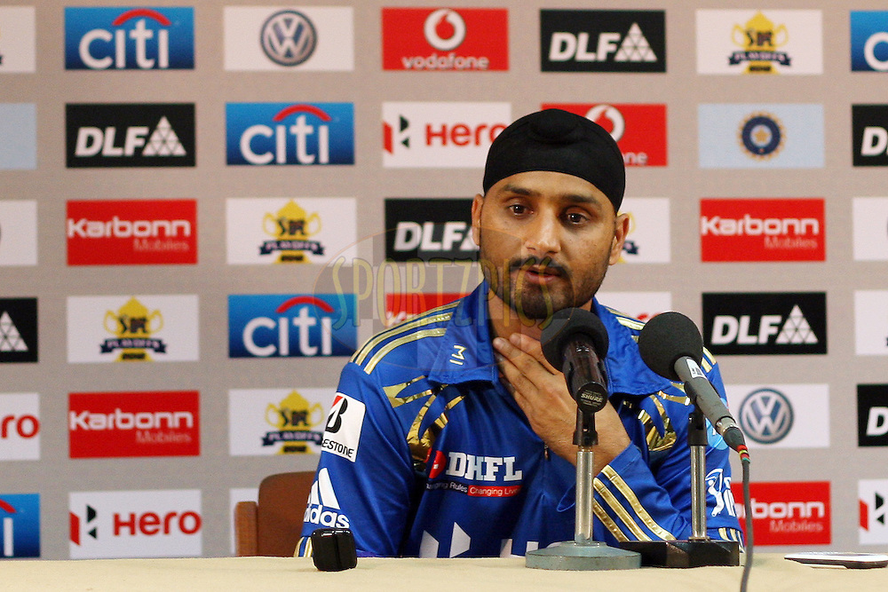 Harbhajan Singh during the press conference after the IPL 2012 Season 5 eliminator match between The Mumbai Indians and The Chennai Superkings held at the M. Chinnaswamy Stadium, Bengaluru on the 23rd May 2012..Photo by Jacques Rossouw/IPL/SPORTZPICS