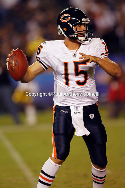 Chicago Bears rookie quarterback Dan LeFevour (15) looks to pass during a NFL week 1 preseason football game against the San Diego Chargers, Saturday, August 14, 2010 in San Diego, California. The Chargers won the game 25-10. (©Paul Anthony Spinelli)
