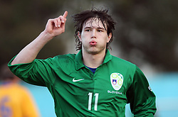 Etien Velikonja (11)  of Slovenia celebrates his goal during Friendly match between U-21 National teams of Slovenia and Romania, on February 11, 2009, in Nova Gorica, Slovenia. (Photo by Vid Ponikvar / Sportida)