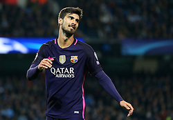 Andre Gomes of Barcelona shows a look of dejection - Mandatory by-line: Matt McNulty/JMP - 01/11/2016 - FOOTBALL - Etihad Stadium - Manchester, England - Manchester City v FC Barcelona - UEFA Champions League Group C