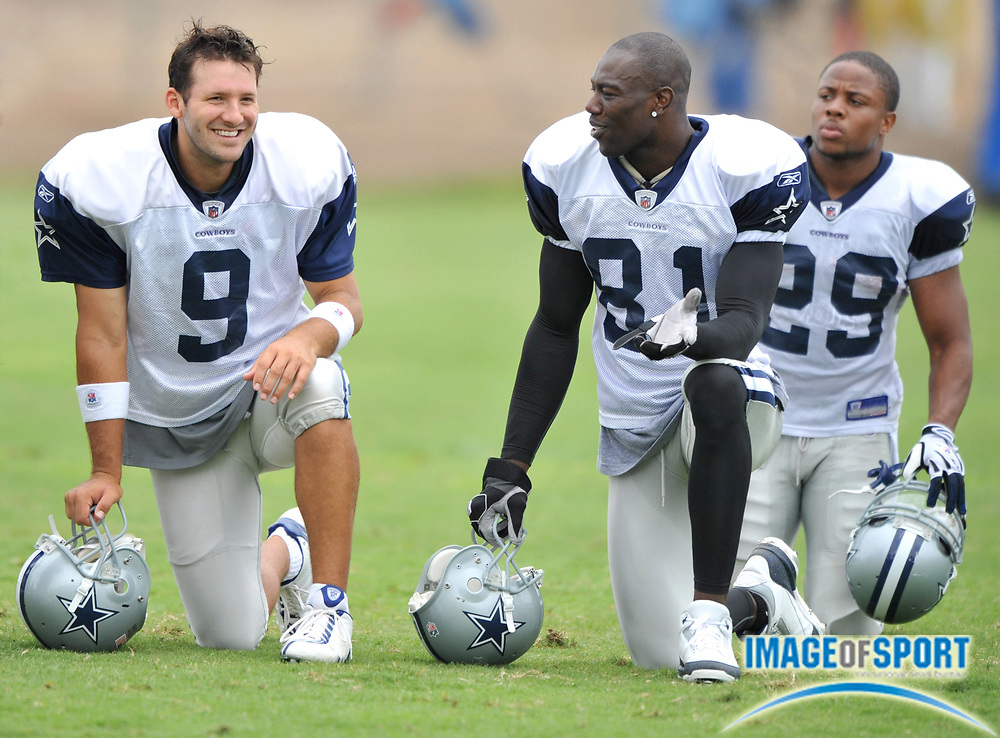 Jul 28, 2008; Oxnard, CA, USA; Dallas Cowboys quarterback Tony Romo (9) and receiver Terrell Owens (81) at training camp at River Ridge Field at Residence Inn by Marriott. Mandatory Credit: Kirby Lee/Image of Sport-US PRESSWIRE