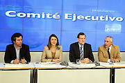 Carlos Floriano,  Maria Dolores de Cospedal, Mariano Rajoy and  Esteban Gonzalez Pons during the appearance of Mariano Rajoy at the PP headquarters to talk about the Barcenas case