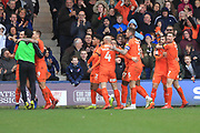 GOAL Danny Hylton celebrates during the EFL Sky Bet League 1 match between Luton Town and Rochdale at Kenilworth Road, Luton, England on 2 March 2019.