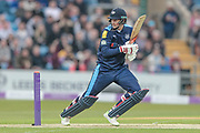 Joe Root (Yorkshire Vikings) makes a solid start getting to 11 quickly during the Royal London 1 Day Cup match between Yorkshire County Cricket Club and Lancashire County Cricket Club at Headingley Stadium, Headingley, United Kingdom on 1 May 2017. Photo by Mark P Doherty.