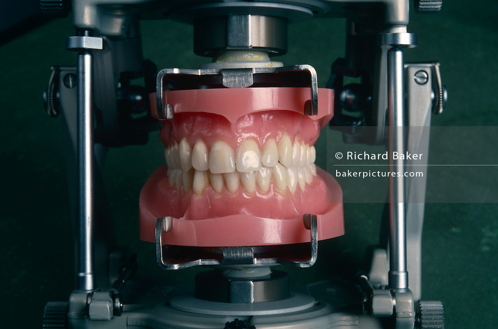 Acrylic teeth samples displayed at Ivoclar in Schaan, Liechtenstein who export 60 million false dentures a year worldwide.