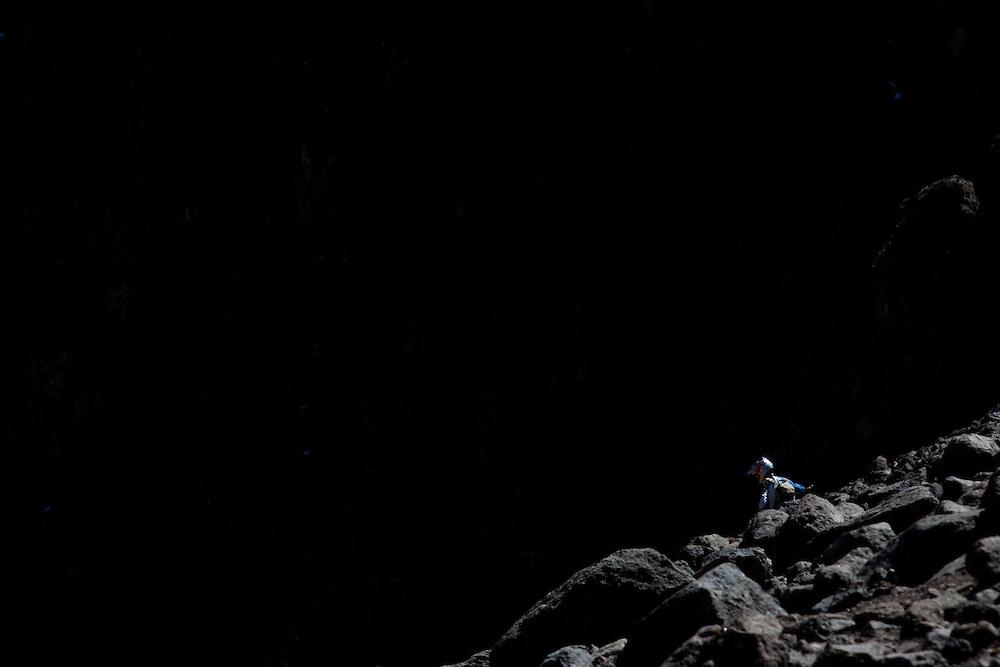 Location: Mont Kenya (Kenya) Urge Kenya 09/ The ultimate Mountain Bike gravity adventure at Mont-Kenya Athlete: Rene Wildhaber during the race