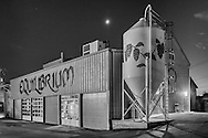Middletown, New York - A view of the Equilibrium Beer brewery with the crescent moon in the background on Nov. 4, 2016.
