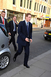 HRH PRINCE WILLIAM arriving at a party for the Royal Marsden Hospital held at the Chelsea Gardener, Sydney Street, London on 6th May 2008.<br />