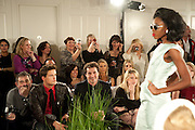 Audience with camera phones, Stephane St. Jaymes Spring Summer 2011 fashion show.<br /> The Westbury Mayfair, Bond Street, London,DO NOT ARCHIVE-&copy; Copyright Photograph by Dafydd Jones. 248 Clapham Rd. London SW9 0PZ. Tel 0207 820 0771. www.dafjones.com.