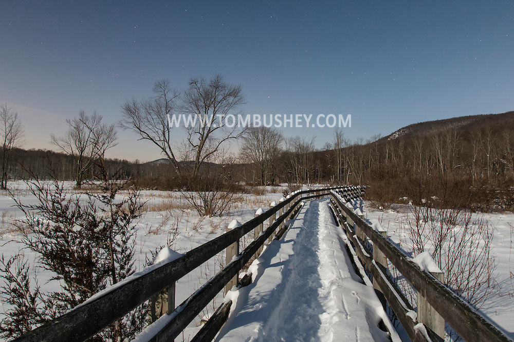 Chester, New York - The boardwalk at Goosepond Mountain State Park is covered with snow on the night on Feb. 3, 2015.