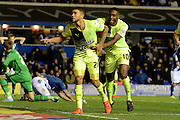 Huddersfield Town striker Nahki Wells celebrates second goal during the Sky Bet Championship match between Birmingham City and Huddersfield Town at St Andrews, Birmingham, England on 5 December 2015. Photo by Alan Franklin.