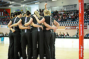 Silver ferns huddle before match, during New World Netball Series, New Zealand Silver Ferns v England at The ILT Velodrome, Invercargill, New Zealand. Thursday 6 October 2011 . Photo: Richard Hood photosport.co.nz