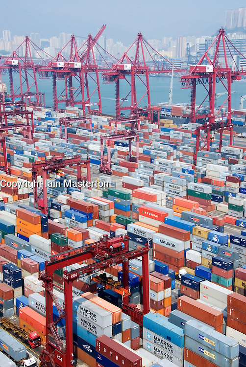 View of many shipping containers in new Container Terminal 9 at Kwai Chung in Hong Kong China