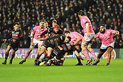 Rory Sutherland ploghs in behind Marcus Bradbury during the European Rugby Challenge Cup match between Edinburgh Rugby and Stade Francais at Murrayfield Stadium, Edinburgh, Scotland on 12 January 2018. Photo by Kevin Murray.