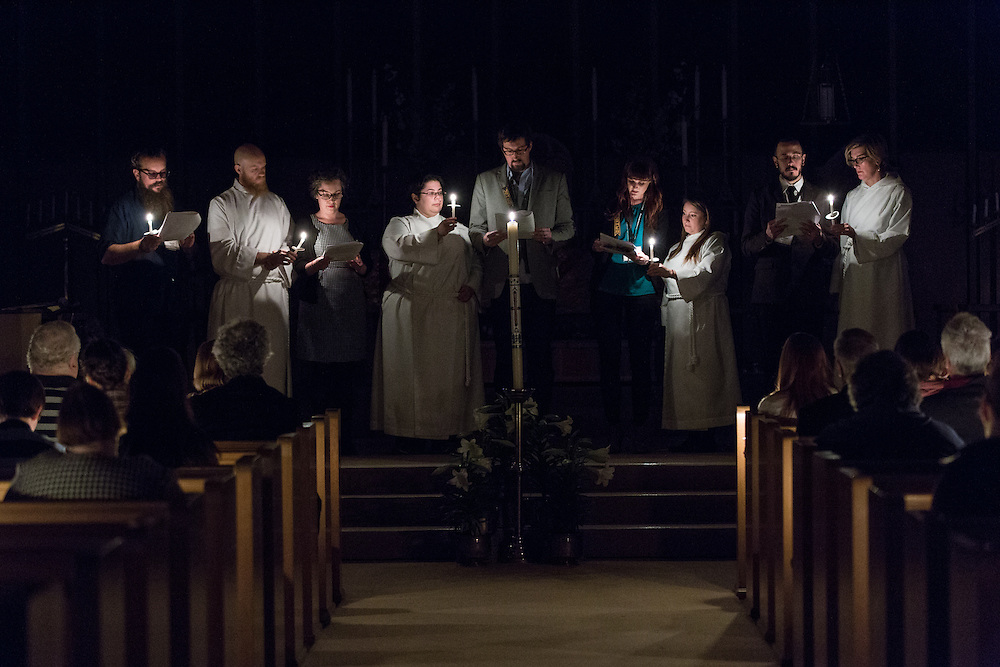 Recalling the biblical story during the Easter Vigil at St. David of Wales Episcopal Church in Portland, Ore.