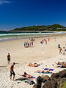 View of people enjoying the morning at Byron Bay Beach, Byron Bay, NSW, Australia
