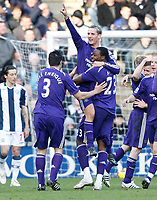 Photo: Steve Bond/Richard Lane Photography. West Bromwich Albion v Newcastle United. Barclays Premiership. 07/02/2009. Peter Lovenkrands salutes his goal