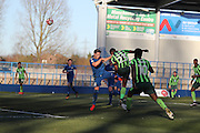 AFC Wimbledon striker Tyrone Barnett (23) scores a goal 3-3 and equalises during the The FA Cup match between Curzon Ashton and AFC Wimbledon at Tameside Stadium, Ashton Under Lyne, United Kingdom on 4 December 2016. Photo by Stuart Butcher.