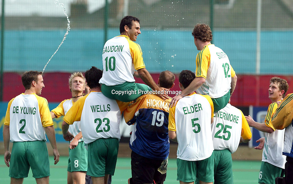 4th August 2002, Belle Vue Hockey Complex. Men's Hockey Final. New Zealand v Australia. Commonwealth Games Manchester England. <br />Australia celebrate.<br />Pic:Andrew Cornaga/Photosport
