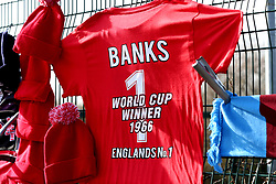 A general view of Gordon Banks memorabilia on display prior to the beginning of the match
