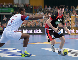 11.03.2016, Leipzig, GER, Handball Länderspiel, Deutschland vs Katar, Herren, im Bild Simon Ernst (GER #40) gegen Rafael Capote (QAT #9) // during the men's Handball international Friendlies between Germany and Qatar in Leipzig, Germany on 2016/03/11. EXPA Pictures © 2016, PhotoCredit: EXPA/ Eibner-Pressefoto/ Modla<br /> <br /> *****ATTENTION - OUT of GER*****
