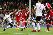 Birmingham City forward Che Adams (14) is awarded a penalty kick during the EFL Sky Bet Championship match between Fulham and Birmingham City at Craven Cottage, London, England on 10 September 2016. Photo by Andy Walter.