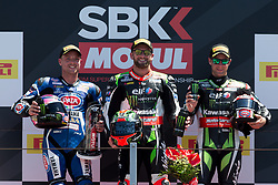 June 17, 2017 - Misano Adriatico, Italy - Tom Sykes of Kawasaki Racing Team, Alex Lowes of Pata Yamaha Official WorldSBK Team and Jonathan Rea of Kawasaki Racing Team compose the podium of race 1 of the Motul FIM Superbike Championship, Riviera di Rimini Round, at Misano World Circuit ''Marco Simoncelli'', on June 17, 2017 in Misano Adriatico, Italy  (Credit Image: © Danilo Di Giovanni/NurPhoto via ZUMA Press)