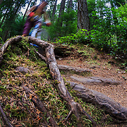 Heather Goodrich riding the trail system in the forest near Anacorted Washington.