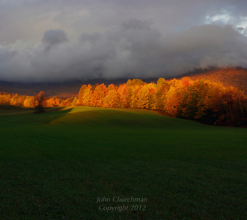 Caseys Hill, Underhill, Vermont Last Light under dark Clouds