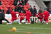 Doncaster Rovers warming up the EFL Sky Bet League 1 match between Doncaster Rovers and Bristol Rovers at the Keepmoat Stadium, Doncaster, England on 27 January 2018. Photo by Craig Zadoroznyj.