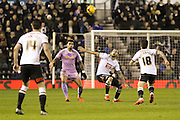 Reading FC midfielder Danny Williams and Derby County midfielder Bradley Johnson challenge for the ball during the Sky Bet Championship match between Derby County and Reading at the iPro Stadium, Derby, England on 12 January 2016. Photo by Aaron Lupton.