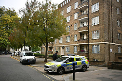 © Licensed to London News Pictures. 17/10/2017. London, UK. The scene of a stabbing at Fleming Court in Little Venice, near Paddington in which a 28-year-old man has died. Police believe the suspects are two males who were riding a moped. Photo credit: Ben Cawthra/LNP