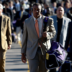 October 1, 2011; Baton Rouge, LA, USA; LSU Tigers quarterback Jordan Jefferson walks to the stadium prior to kickoff of a game against the Kentucky Wildcats at Tiger Stadium. Mandatory Credit: Derick E. Hingle-US PRESSWIRE / © Derick E. Hingle 2011.