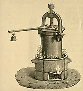 Denis Papin's (1647-1712) digester, the forerunner of the domestic pressure cooker.