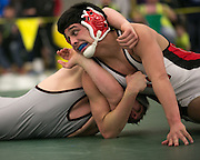 Danny Khomitch of Byron Bergen competes against Corey Cristales of Williamson in the championship match for the 160-pound weight class at the state qualifying wrestling meet at the College and Brockport on Saturday, February 14, 2015.