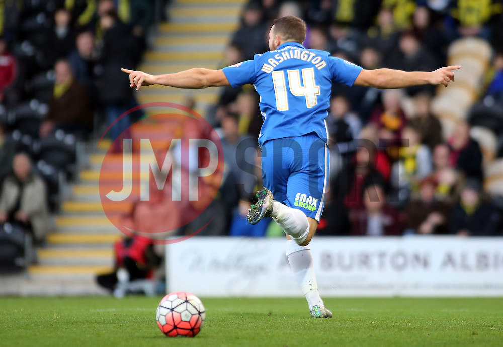 Conor Washington of Peterborough United celebrates scoring the opening goal of the game - Mandatory byline: Joe Dent/JMP - 07966 386802 - 07/11/2015 - FOOTBALL - Pirelli Stadium - Burton, England - Burton Albion v Peterborough United - FA Cup = First Round