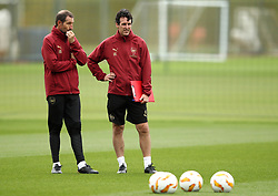 Arsenal manager Unai Emery (right) and Strength and Conditioning Coach Julen Masach during the training session at London Colney, Hertfordshire.