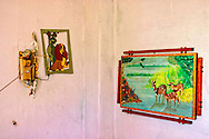 Interior decorations in a fisherman's house in Santa Fe, Havana, Cuba.