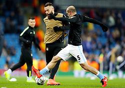 Nicolas Otamendi of Manchester City and Pablo Zabaleta warm up - Mandatory byline: Matt McNulty/JMP - 15/03/2016 - FOOTBALL - Etihad Stadium - Manchester, England - Manchester City v Dynamo Kyiv - Champions League - Round of 16