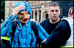 EDL supporter wears a pig mask during  the protest against what the EDL sees as the influence of Islam in the Tower Hamlets area of London, United Kingdom. Saturday, 7th September 2013. Picture by Piero Cruciatti / i-Images