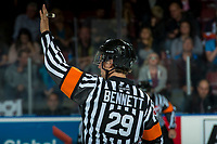 KELOWNA, CANADA - SEPTEMBER 22: Referee Kevin Bennett stands at centre ice as the Kelowna Rockets host the Kamloops Blazers on September 22, 2017 at Prospera Place in Kelowna, British Columbia, Canada.  (Photo by Marissa Baecker/Shoot the Breeze)  *** Local Caption ***