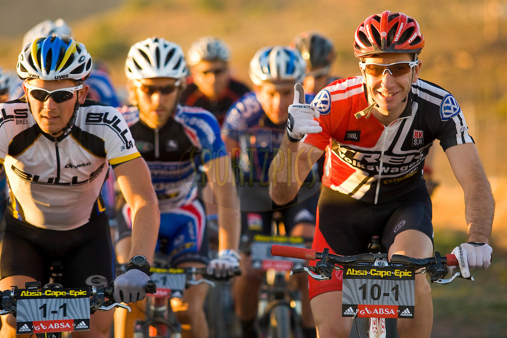 WESTERN CAPE, SOUTH AFRICA -  31 March 2008, Jeremiah Bishop just after the start during stage three of the 2008 Absa Cape Epic Mountain Bike stage race from Calitzdorp Spa.to Langenhoven High School in Riversdale, Western Cape, South Africa..Photo by Sven Martin/SPORTZPICS