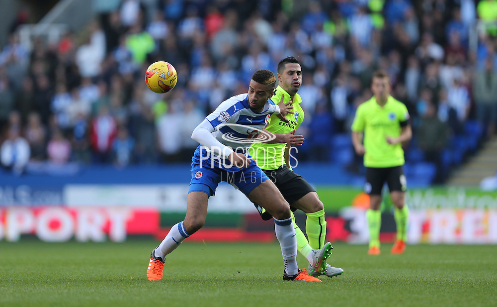 Reading defender Michael Hector (8) in action during the Sky Bet Championship match between Reading and Brighton and Hove Albion at the Madejski Stadium, Reading, England on 31 October 2015.