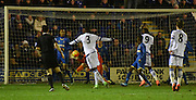 Fikayo Tomori fires Chelsea into the lead during the FA Youth Cup match between U18 AFC Wimbledon and U18 Chelsea at the Cherry Red Records Stadium, Kingston, England on 9 February 2016. Photo by Michael Hulf.