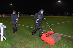 Last minute pitch preparations to mop up the rain at Stoke Gifford Stadium - Mandatory by-line: Paul Knight/JMP - 05/12/2018 - FOOTBALL - Stoke Gifford Stadium - Bristol, England - Bristol City Women v Aston Villa Women - FA WSL Continental Tyres Cup