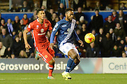 MK Dons defender Jordan Spence chases Birmingham City midfielder Jacques Maghoma during the Sky Bet Championship match between Birmingham City and Milton Keynes Dons at St Andrews, Birmingham, England on 28 December 2015. Photo by Alan Franklin.