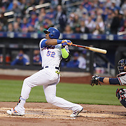 NEW YORK, NEW YORK - MAY 02:  Yoenis Cespedes #52 of the New York Mets hits a two run home run in the first inning off Mike Foltynewicz #26 of the Atlanta Braves during the Atlanta Braves Vs New York Mets MLB regular season game at Citi Field on May 02, 2016 in New York City. (Photo by Tim Clayton/Corbis via Getty Images)