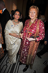 Left to right, NAZLI JAFFERJEE and LADY HAMLYN at a dinner to celebrate the opening of 'Maharaja - The Spendour of India's Royal Courts' an exhbition at the V&A, London on 6th October 2009.